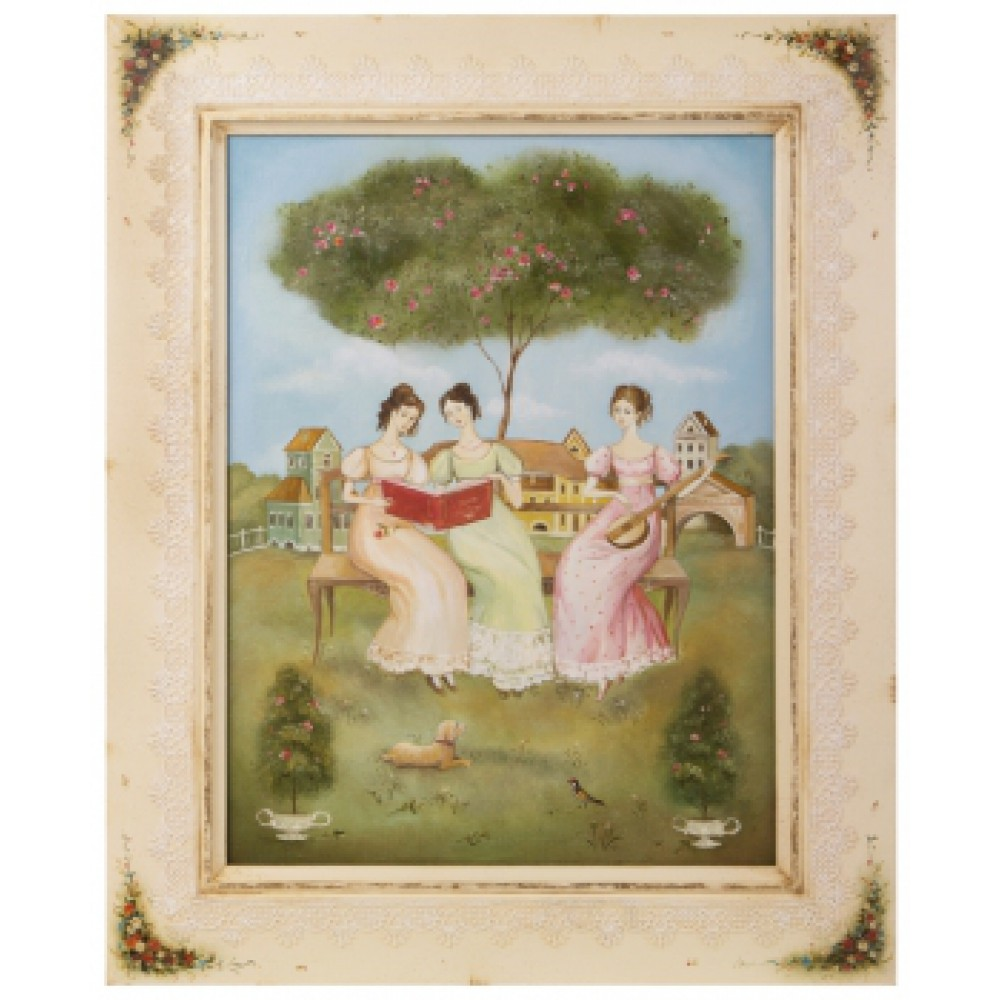 Картина в раме холст, масло Подружки