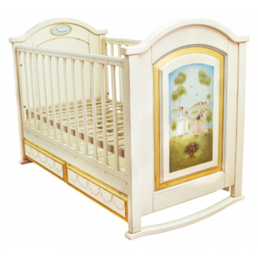Детская кроватка с росписью Пушкинская