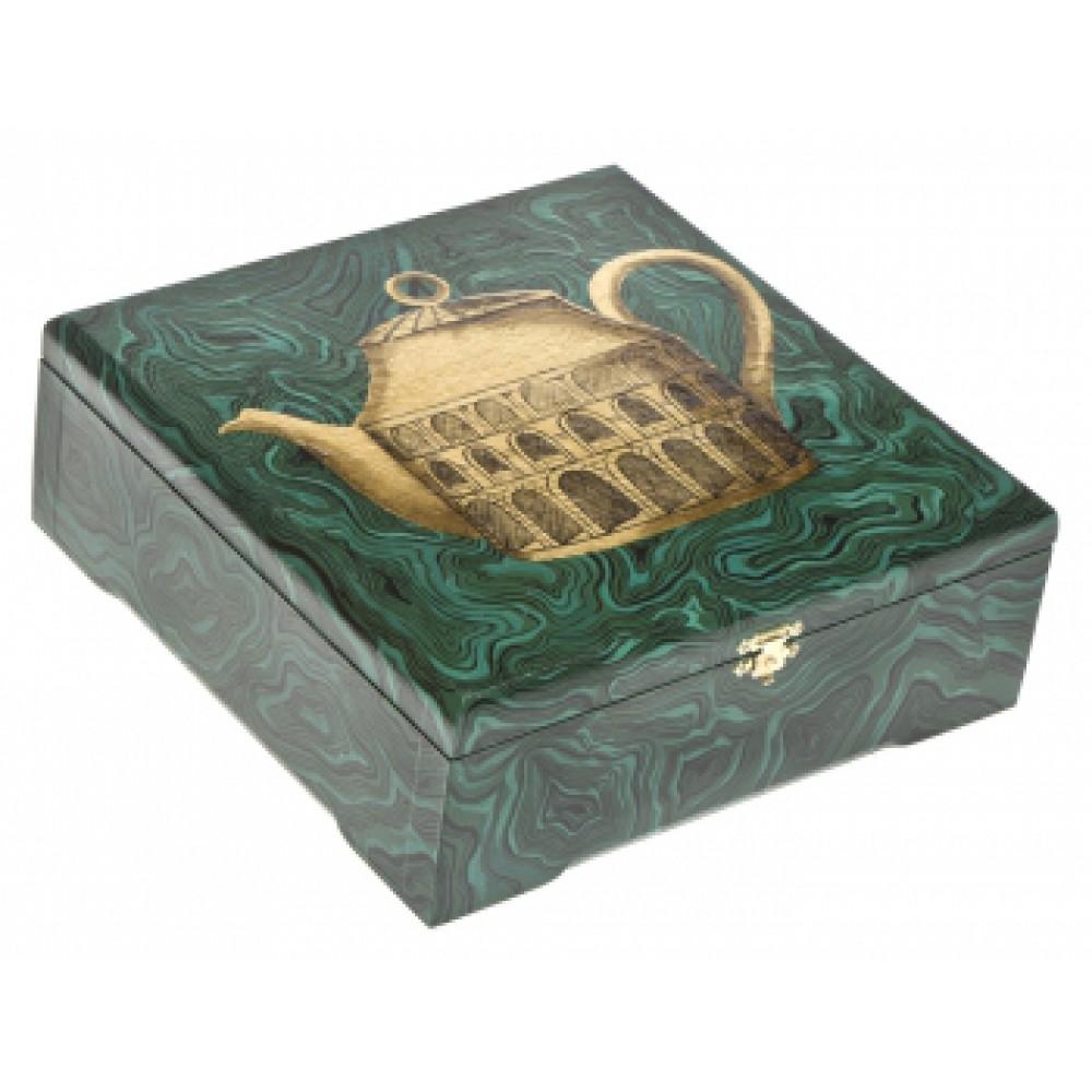 Шкатулка с росписью Чайник золотой