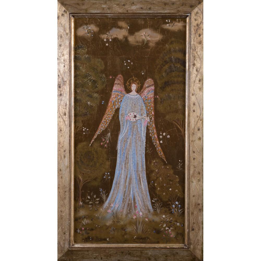 """Картина в раме, холст, золотая поталь, масло. """"Голубой ангел на золотом фоне"""""""