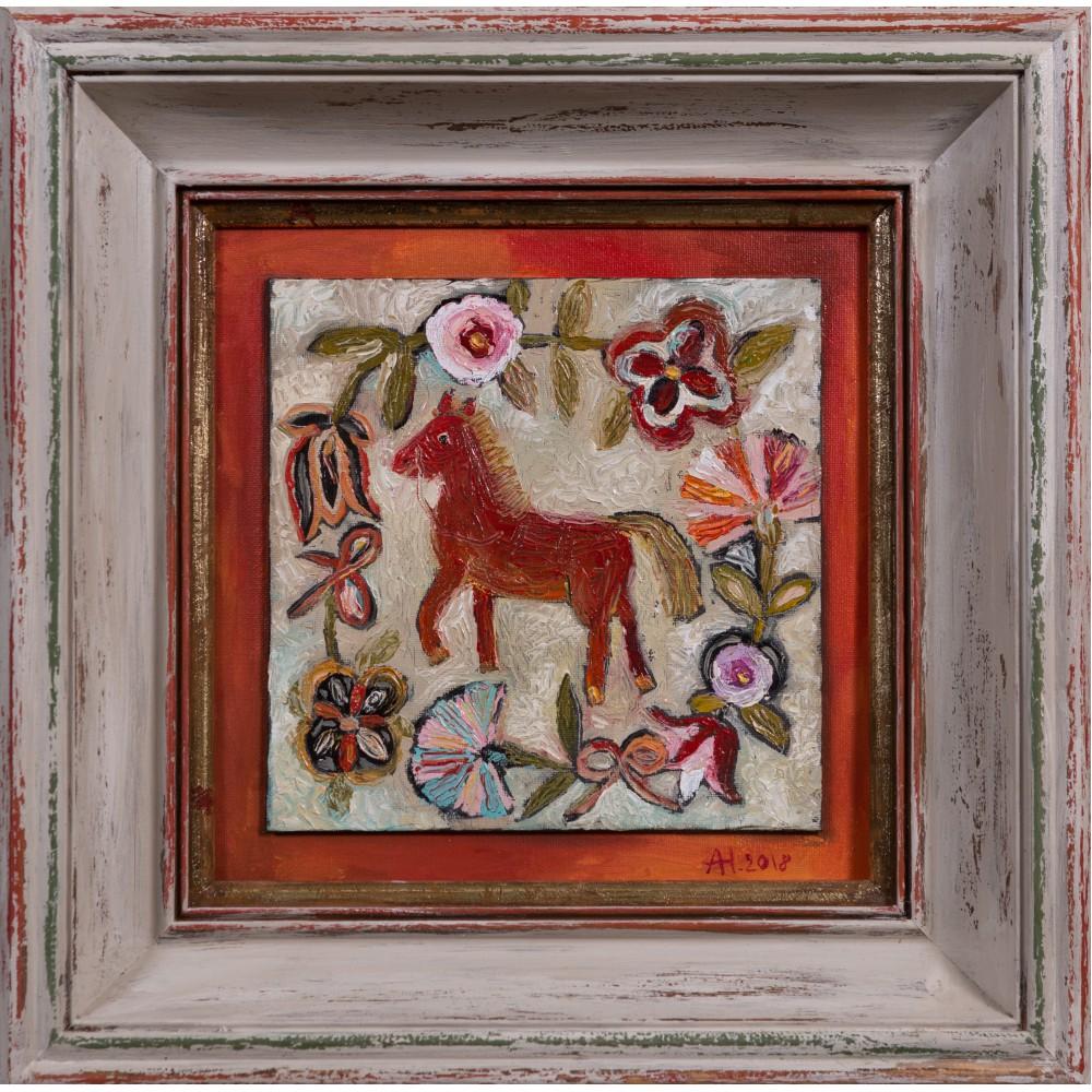"""Картина в раме, картон, холст, масло.  """"Лошадка красная"""""""