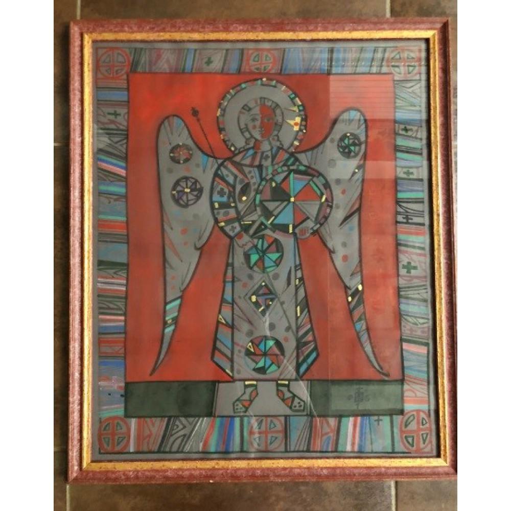 Акварель Ангел на красном фоне в раме