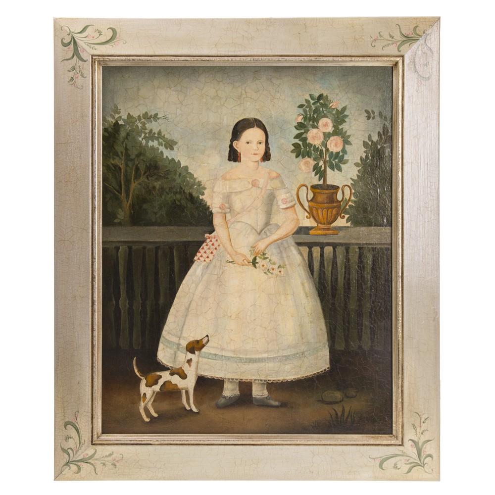 Авторская копия Картина в раме, холст, масло. Колендас Павел. Девочка с собачкой
