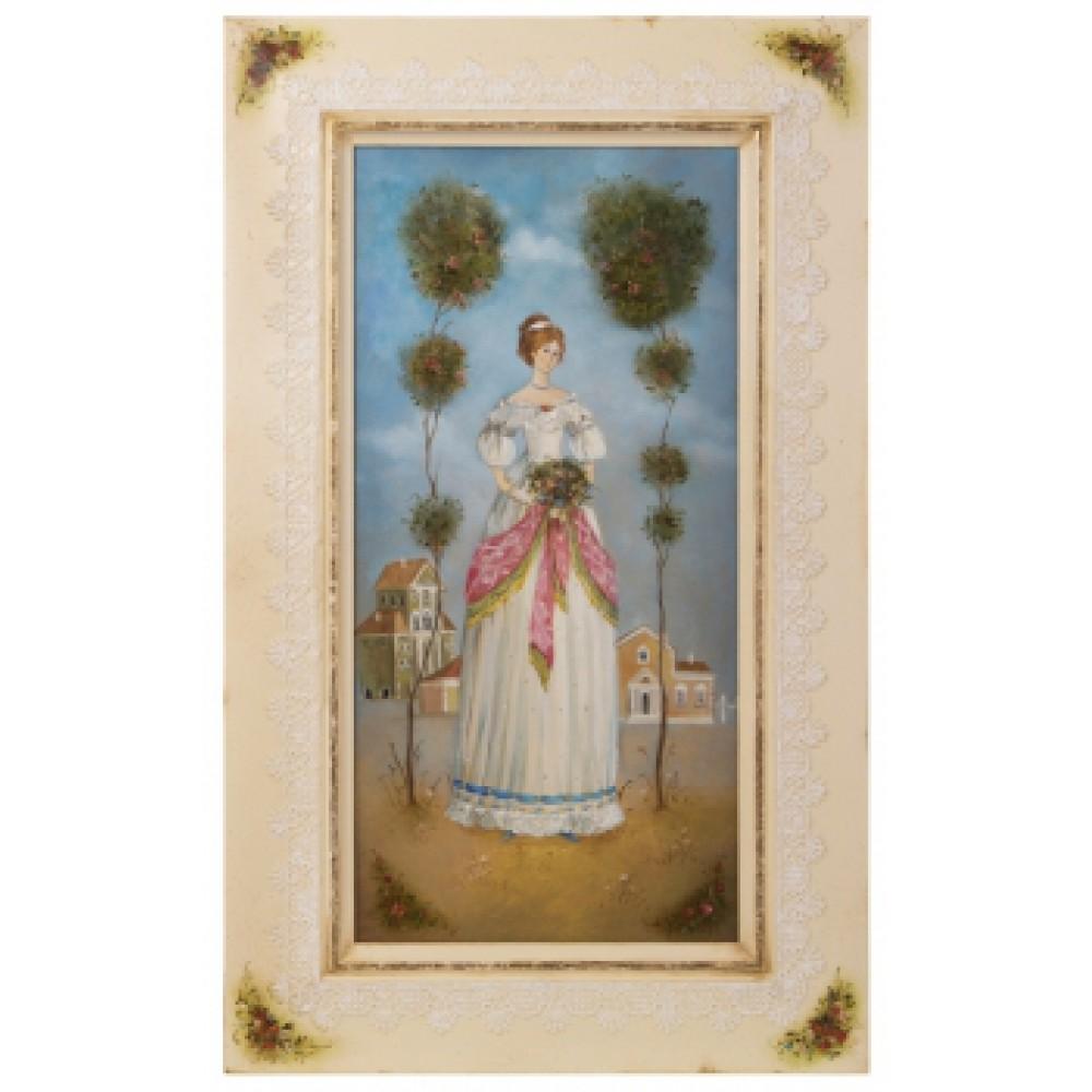 Картина в раме холст, масло Девушка с букетом