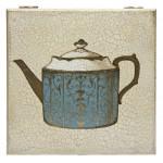 Шкатулка с росписью Чайник голубой