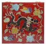 Шкатулка с росписью Дракон на красном фоне