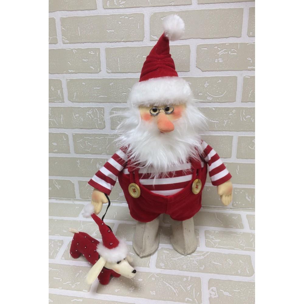 Авторская игрушка О.Ярмольник Дед Мороз с Собачкой в тельняшке